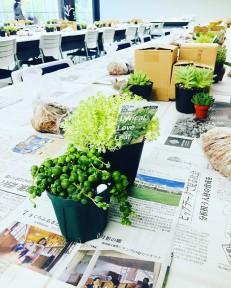 JA湖東さんで60名様のお客様と寄せ植え教室